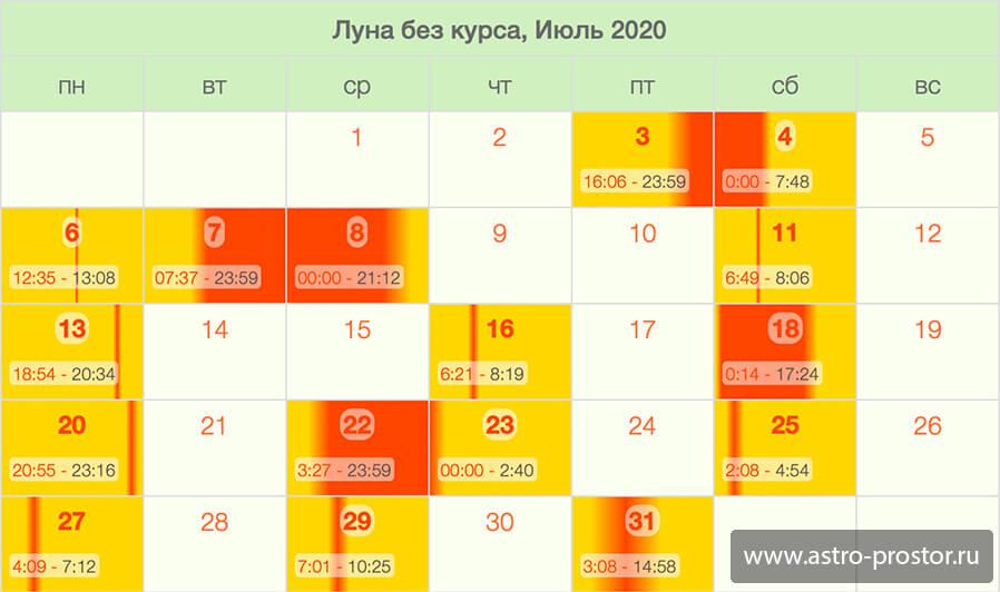 Календарь холостая Луна. Июль 2020.